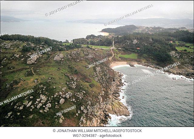 SPAIN Near O Grove -- 15/12/2002 -- Aerial view of a polluted beach near O Grove on the Galician coast. Thousands of tonnes of heavy fuel oil has contaminated...