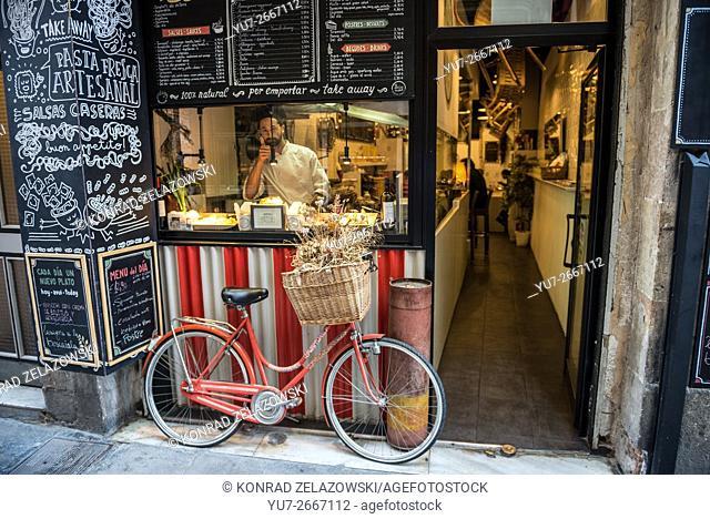 Small restaurant in Sant Pere, Santa Caterina i la Ribera neighborhood, Ciutat Vella district in Barcelona, Spain