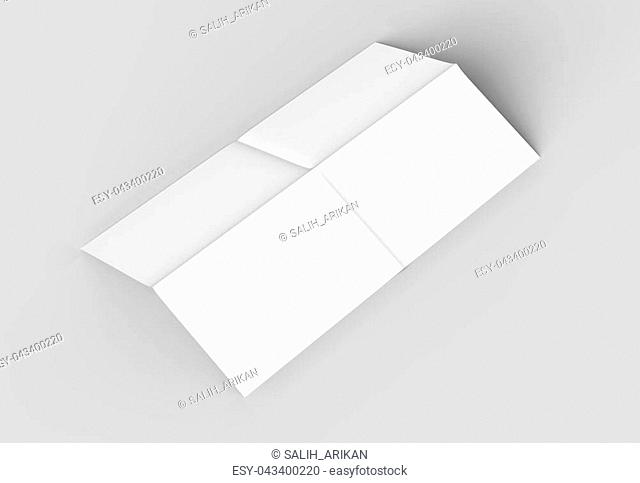 8 page leaflet - French fold right angle horizontal - landscape brochure mock up isolated on soft gray background. 3D illustrating