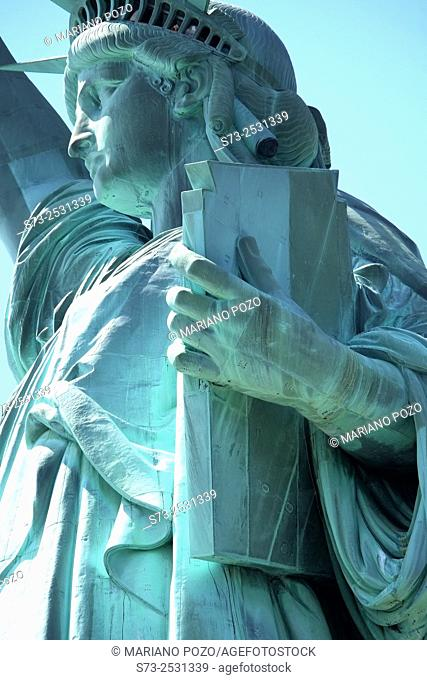 Close-up view of the statue of Liberty, New York City, USA