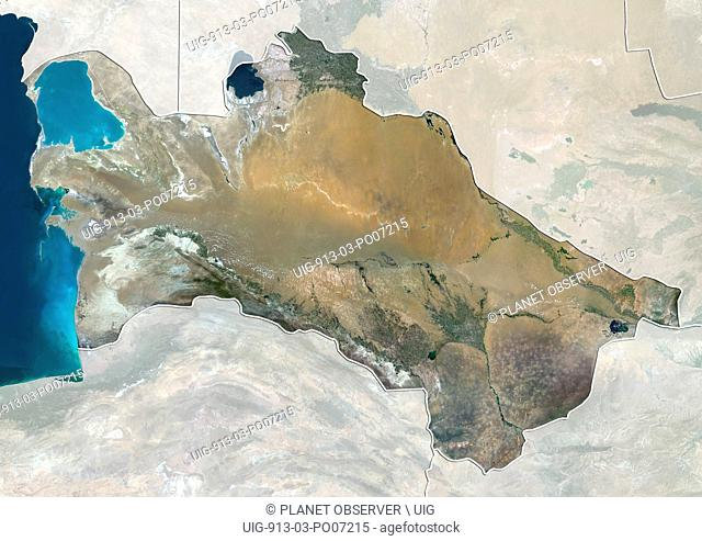 Satellite view of Turkmenistan (with country boundaries and mask). This image was compiled from data acquired by Landsat 8 satellite in 2014