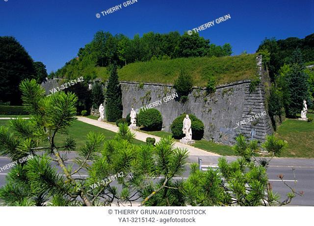 France, Meuse (55), Verdun town, Carrefour des Marechaux, commemorative statues of old generals