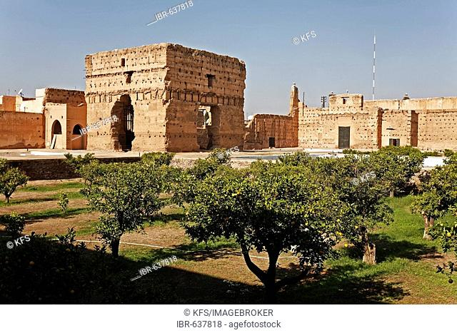Ruins of a gigantic hall, inner courtyard of Palais El Badi, Marrakech, Morocco, Africa