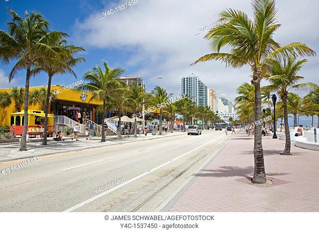 Atlantic Blvd along Fort Lauderdale Beach on the Atlantic Ocean or East Coast of Florida