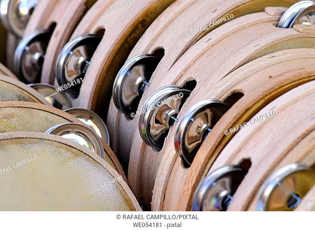 Tambourines. Fira de Santa Llúcia, Barcelona, Catalonia, Spain