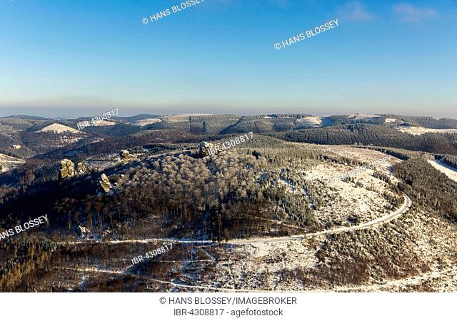 Bruchhauser stones, porphyry rocks in winter with snow, natural monument, archaeological site, Rothaargebirge, Olsberg, Sauerland, North Rhine-Westphalia