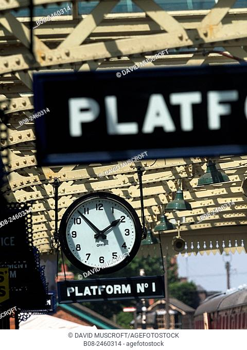 vintage station platform clock ,at the Great Central Railway,Loughborough station,Leicestershire,Britain