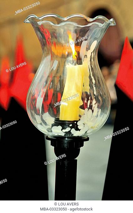 Spain, Kastilien-Leon, candle holder at the Easter procession of the Semana Santa in Salamanca
