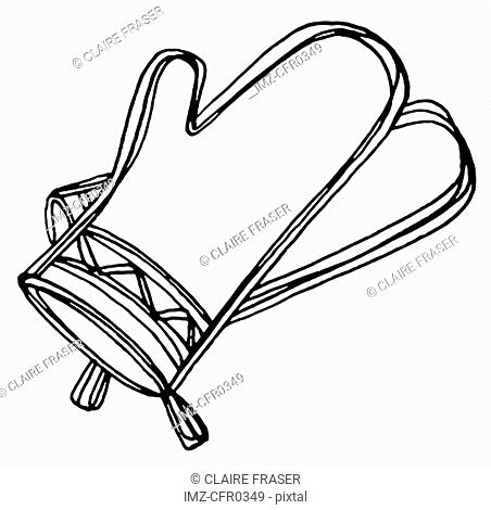 A black and white illustration of oven mitts