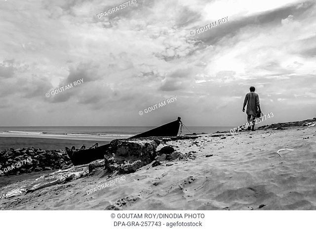 man walk towards vast landscape, digha beach, kolkata, west Bengal, India, Asia
