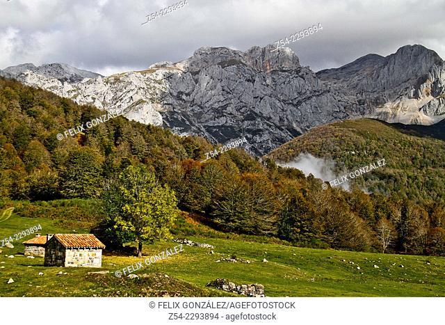 Picos de Europa from Vegabaños, Leon province ,Castile and Leon, Spain
