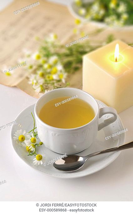 A white cup of chamomile with fresh flowers