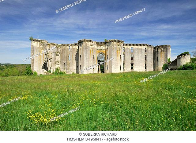 France, Aisne, La Ferte Milon, remains of the unfinished castle commissioned by Louis of Orleans in 1393