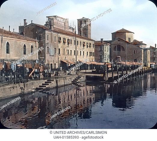 Italy, Chioggia, the small island on the Venetian Lagoon, image date: circa 1910. Carl Simon Archive