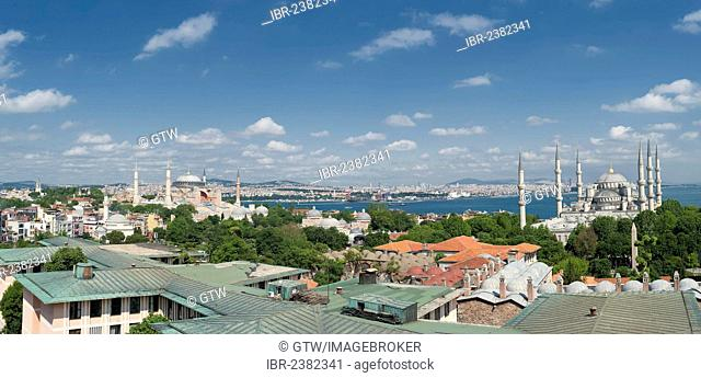 Panorama over the Bosphorus, the Blue Mosque and the Hagia Sophia museum, Istanbul, Turkey