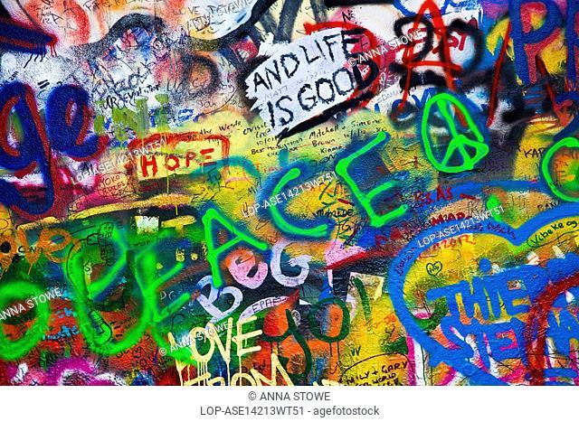 Czech Republic, Prague, Prague. Graffiti on part of the John Lennon Wall in Prague