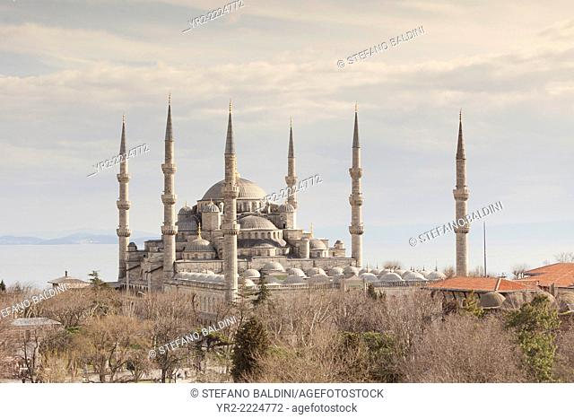 Panoramic view of the the blue mosque, Istanbul, Turkey