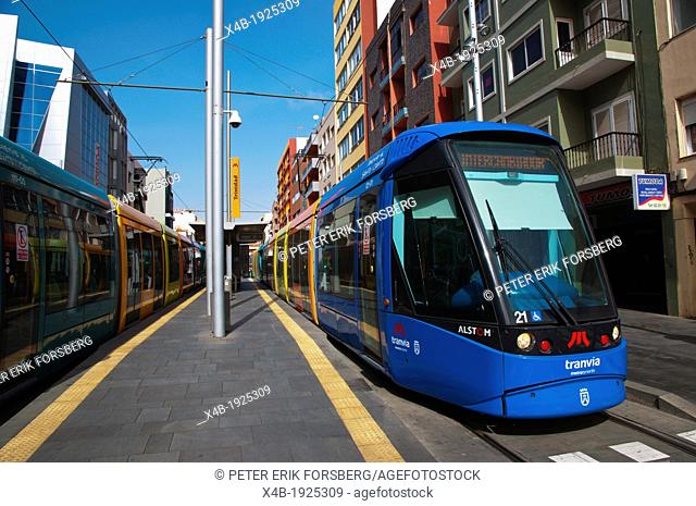 Tram at Trininad stop San Cristobal de La Laguna city Tenerife the Canary Islands Spain Europe