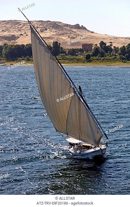 FELUCCA IN FULL SAIL; RIVER NILE, ASWAN, EGYPT; 10/01/2013