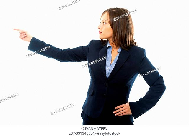 Businesswoman pointing with a finger isolated on white background