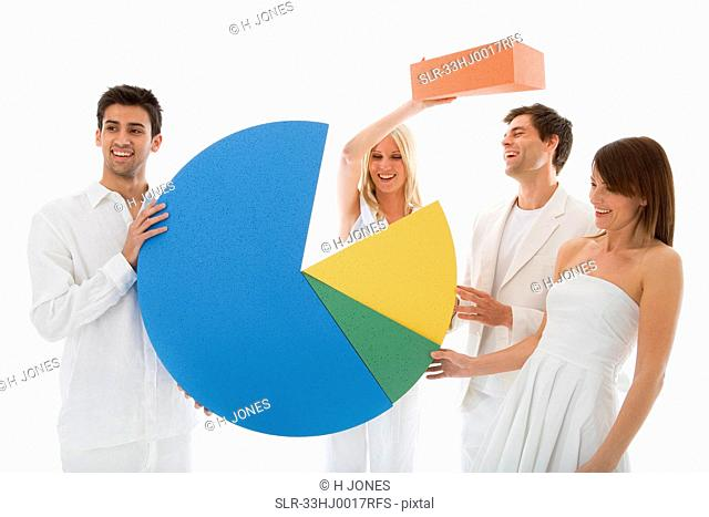 People playing with pie chart