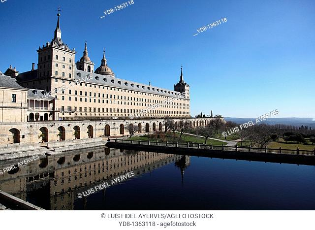 Panoramic View of the Monastery of San Lorenzo del Escorial, Madrid, Spain