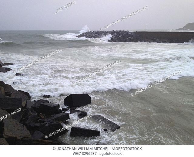 SPAIN San Sebastian -- 16 Nov 2014 -- Waves crash onto the breakwater on the beach in San Sebastian, Spain as heavy rains fell on much of Europe -- Picture by...