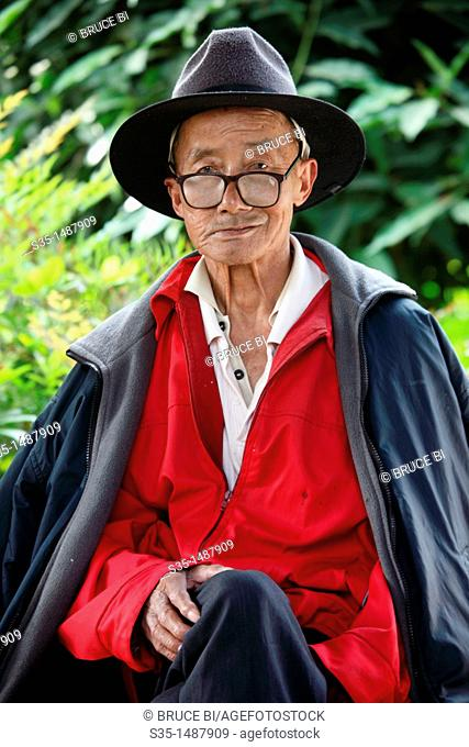 Portrait of a old man  Town of Guandu  Kunming  China