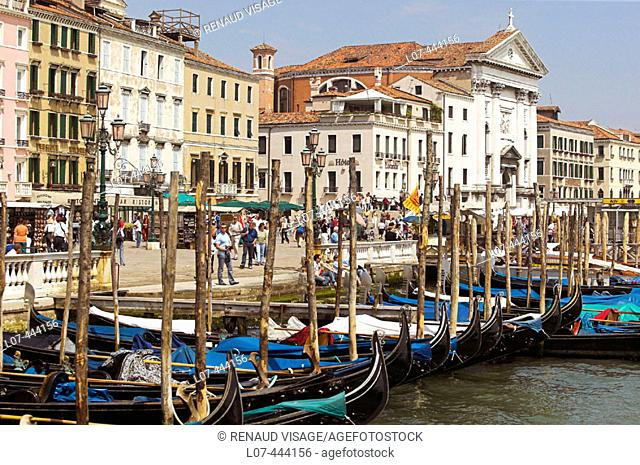 Gondolas along the Riva degli Schiavoni near St. Mark's Square. Venice. Italy