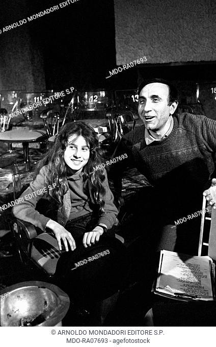 Italian TV host Pippo Baudo (Giuseppe Raimondo Vittorio Baudo) sitting with his daughter Tiziana during the break of TV show 'Domenica in'