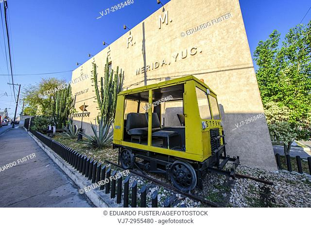 Train memorial in the historic center, Merida, Riviera Maya, Yucatan Province, Mexico, Central America