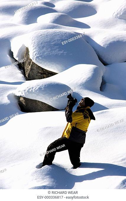 Photographer in the snow, Jasper National Park, Alberta, Canada
