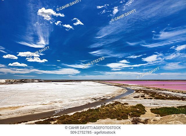The white and pink salt flats of the Salin de Giraud salt production facility, Route de la Mer, Salin de Giraud, Provence Alpes Cote d'Azur, France