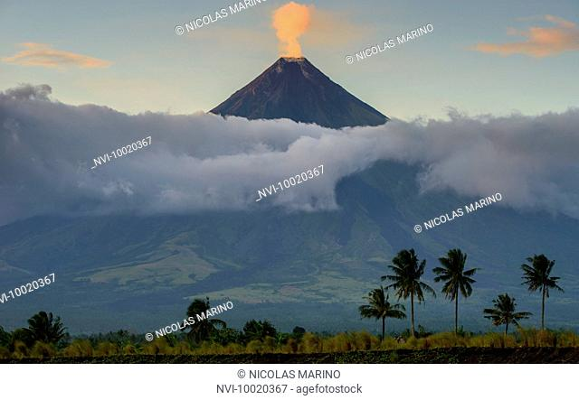 Smoke of Mayon volcano, Legazpi, South Luzon, Philippines