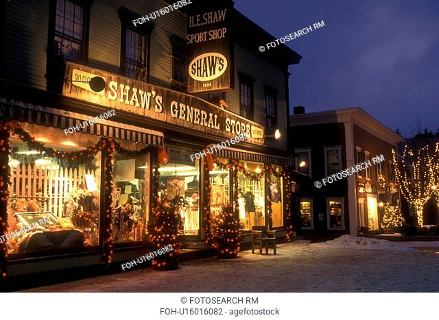 Stowe, general store, country store, village, ski resort, decorations, holiday, Christmas, evening, snow, winter, Vermont