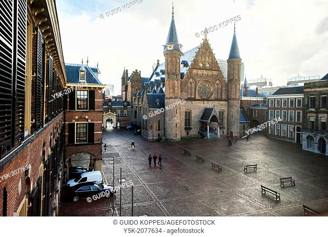 The Hague, Netherlands. View at Binnenhof, the Dutch political and parliamentary centre, from the first floor of the Senate building
