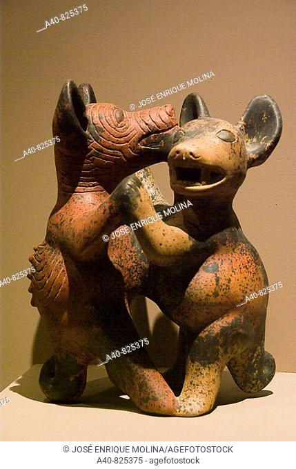 El  Salvador. San Salvador city. MUNA (National Museum of Antropology).Ceramic dogs.Culture Mexica.Pre-Columbian art