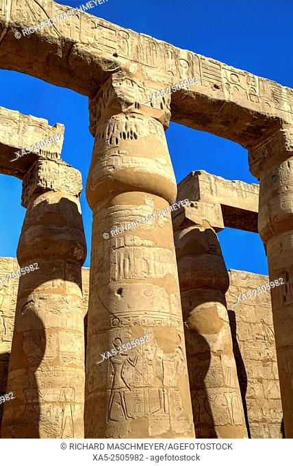 Columns in the Court Of Ramses II, Luxor Temple, Luxor, Egypt