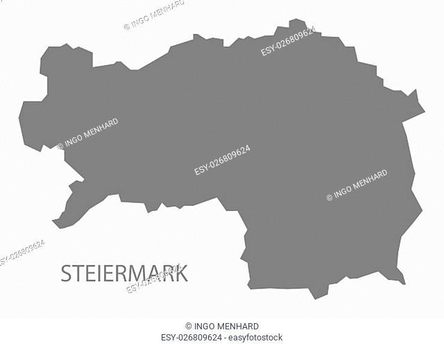Steiermark Austria Map in grey