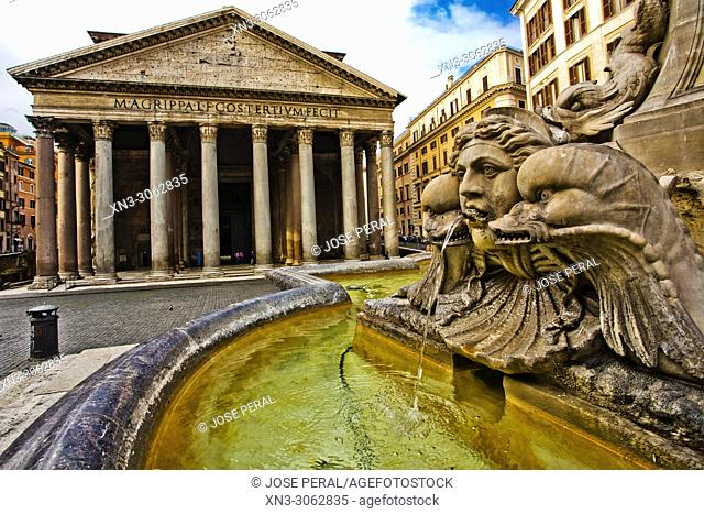 Pantheon, Roman temple with Corinthian columns, at right Fountain of the Pantheon, Fontana del Pantheon, Piazza della Rotonda square, Rome, Lazio, Italy, Europe
