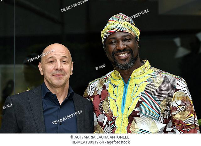 Jacky Ido, Aldo Baglio during 'Scappo a casa' film photocall, Rome, Italy 18/03/2019
