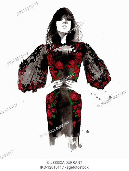 Fashion illustration of model wearing rose pattern evening dress
