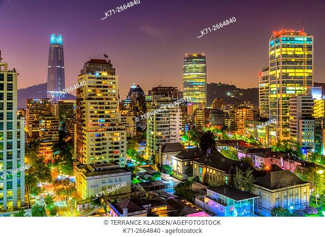 The skyline of Santiago, Chile, South America, at dusk
