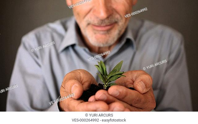 A senior man with a little plant in his hands isolated on a dark background