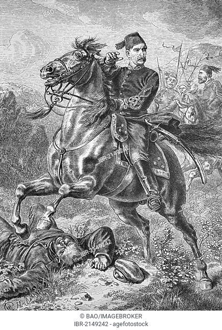 Suleiman Pasha, 1838-1892, Ottoman officer, active during the Serbian-Turkish War in 1876 and the Russo-Turkish War in 1877-1878, historic woodcut, c