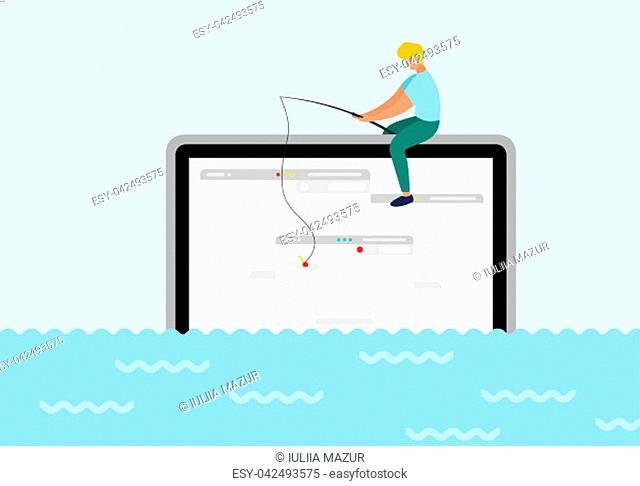 A man sit on computer trying to catch webpage on the hook. In ocean of ideas find your web design. Fresh form concept, pastel color