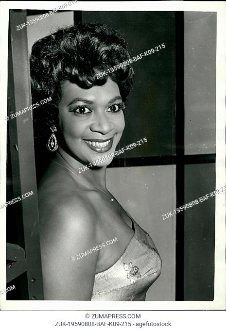 Aug. 08, 1959 - Phyllis Marshal Rehearses For TV Show: Phyllis Marshall, Canada;s top blues singer, who is to sing in Saturday's Trinder Box show on BBC...