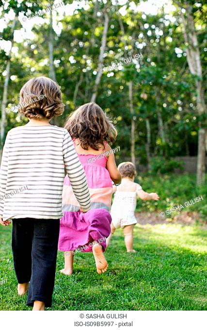 Rear view of female toddler followed by boy and girl in garden
