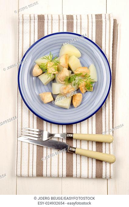 boiled potatoes with grilled chicken fillet cubes and dill