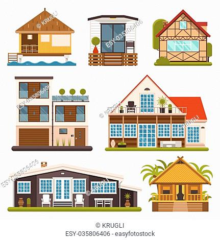 Rent house set. Modern apartments and suites, private cabins, wooden bungalows, chalet and country houses collection for booking and living